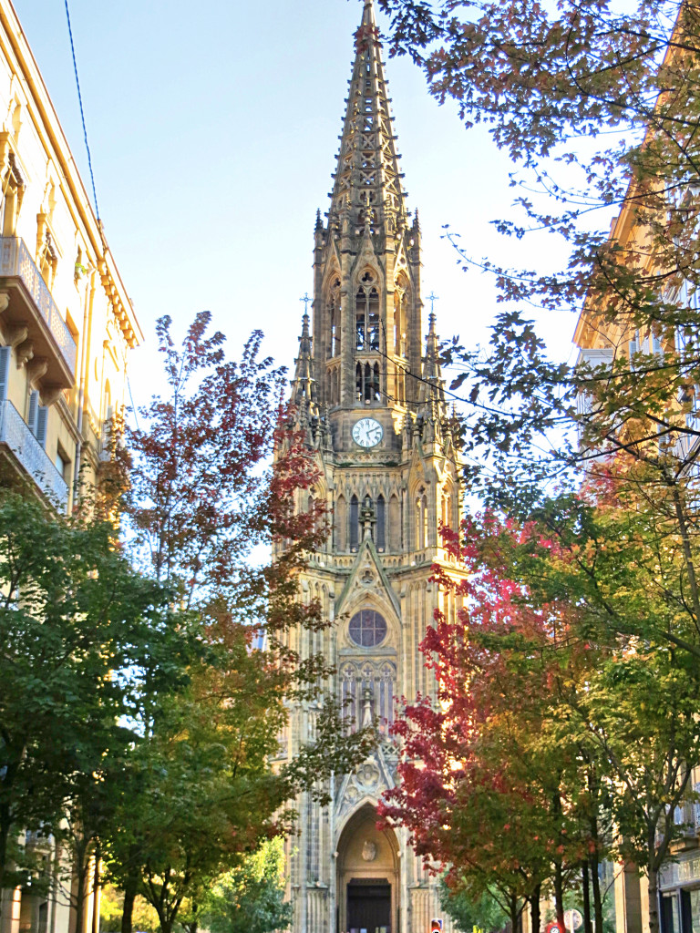 The 19th century Cathedral of the Good Shepard framed by the city's fall leaves