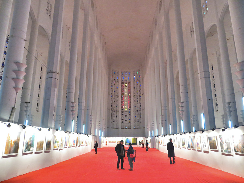 We also toured this 20th century building, once Casablanca's Cathedral, now used for other purposes. On our day there, it was an art show, with the art competing with the soaring Gothic architecture for your attention.