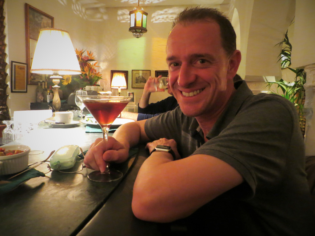 Mark enjoying a Manhattan at Rick's Cafe. Yes, that Rick's Cafe.