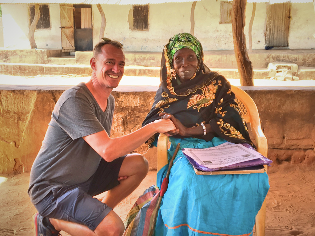 Mark with the Jufureh village chief. She spoke no English, but beamed when Mark greeted her in Arabic.