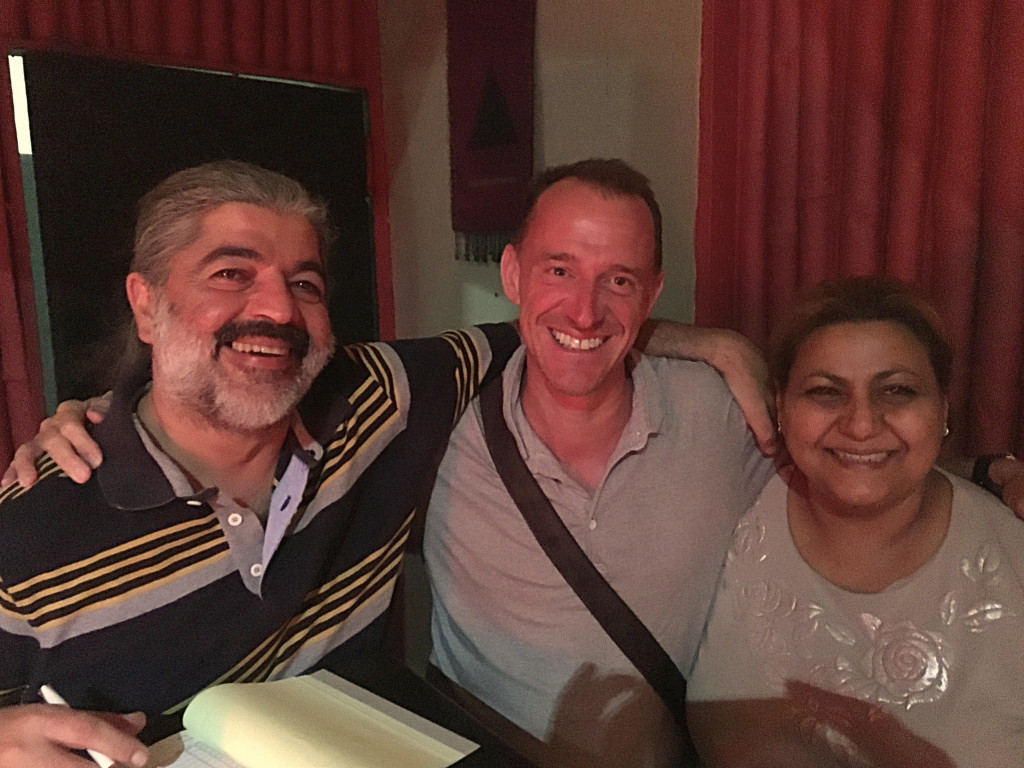 Mark with Kazeem & Miranda, owners of a great Lebanese restaurant in town. By our third visit they seemed like old friends. Mark had pictures of the food, but ...