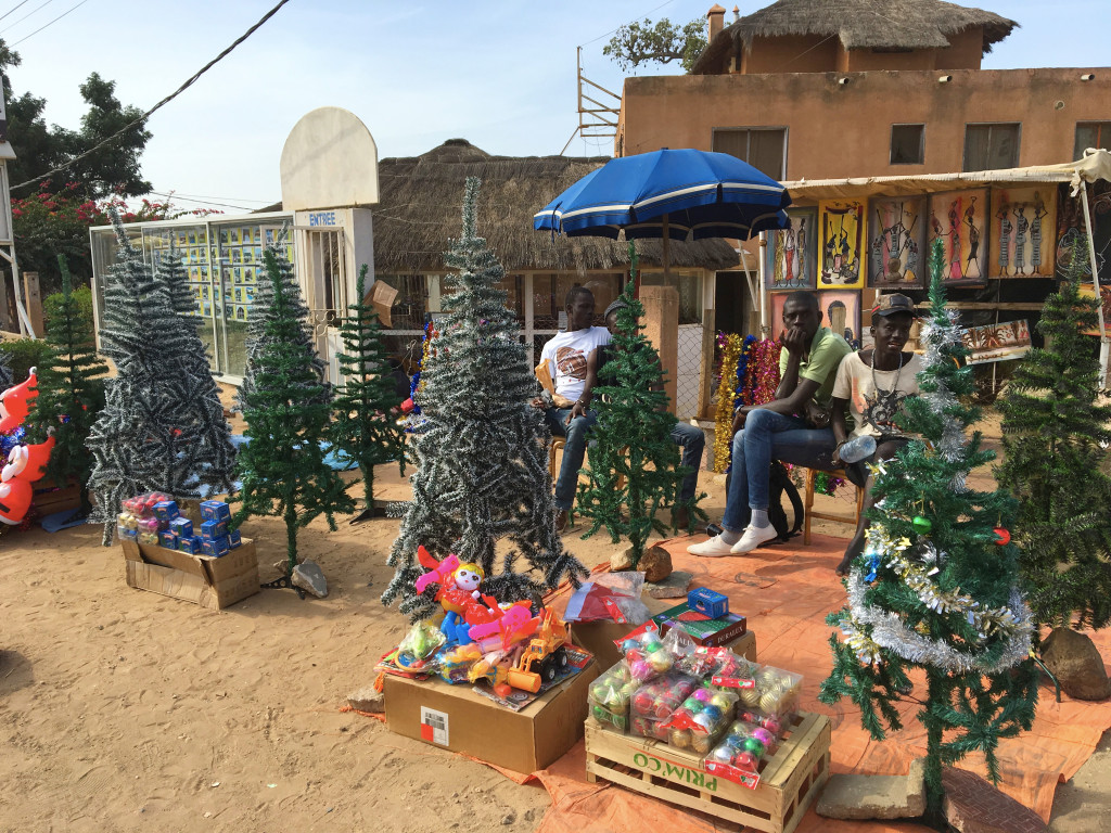 Christmas decorations for sale on the streets of Mbour