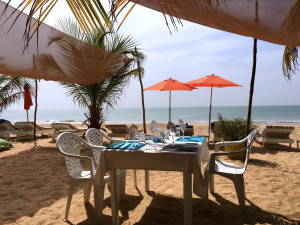 The elegant tables on the beach at Cristal