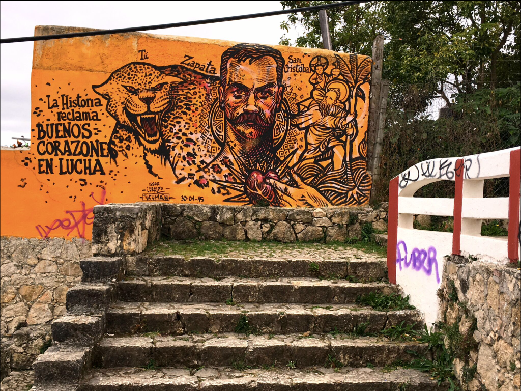 The Church of Guadalupe was on a hill east of the city, while the Church of San Cristóbal was on a hill west of the city. Naturally, we had to climb them both. This creative graffiti was on the steps up to the latter.