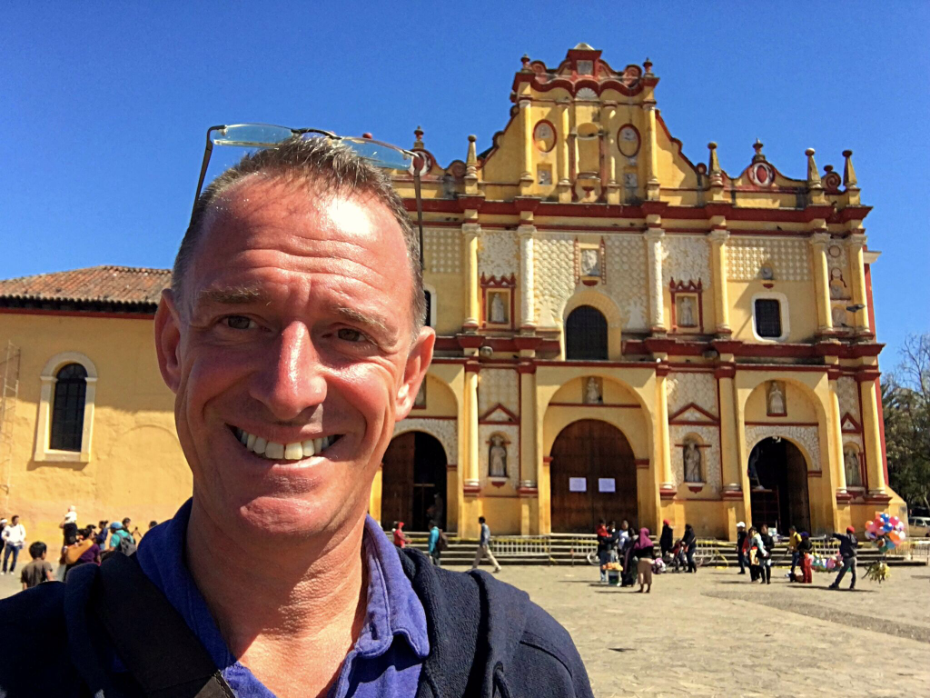 Mark outside the Cathedral. In just a couple weeks Pope Francis will be here!