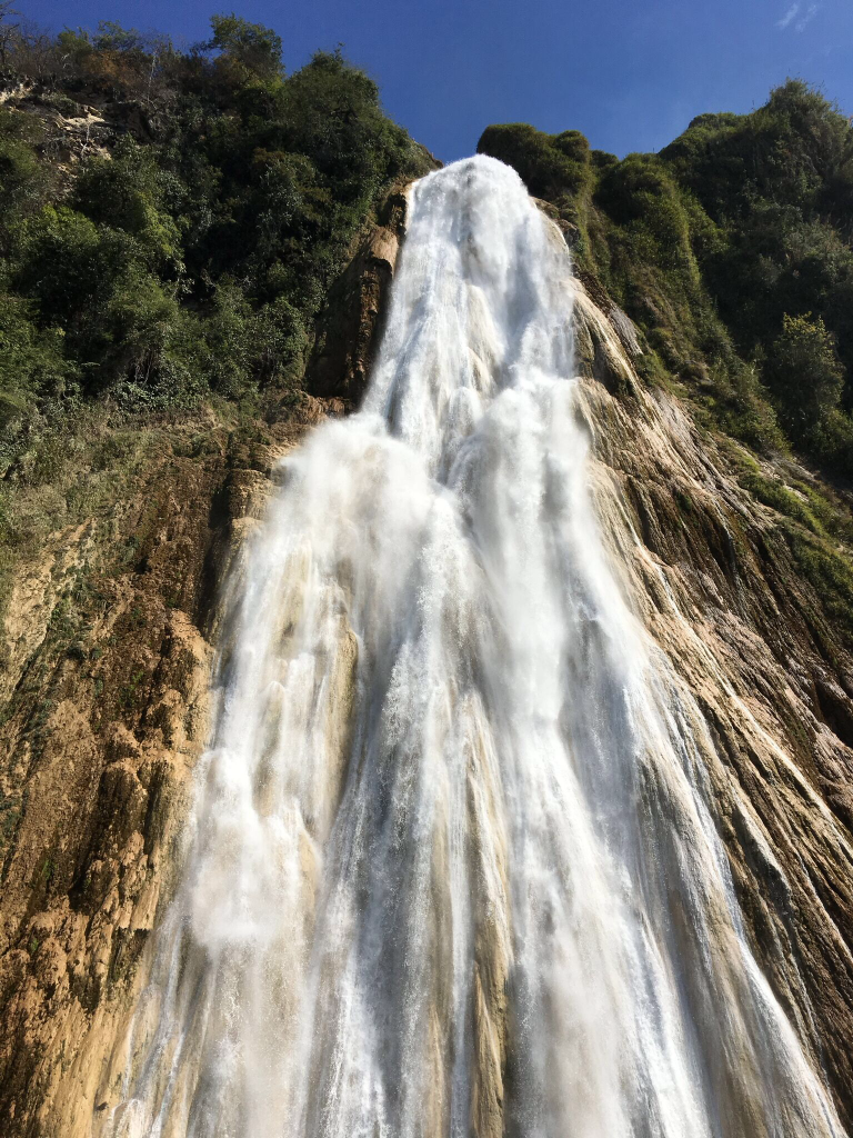 After a series of smaller falls, you suddenly approach Velo de Novia, the 375-foot major falls. Powerful and beautiful.