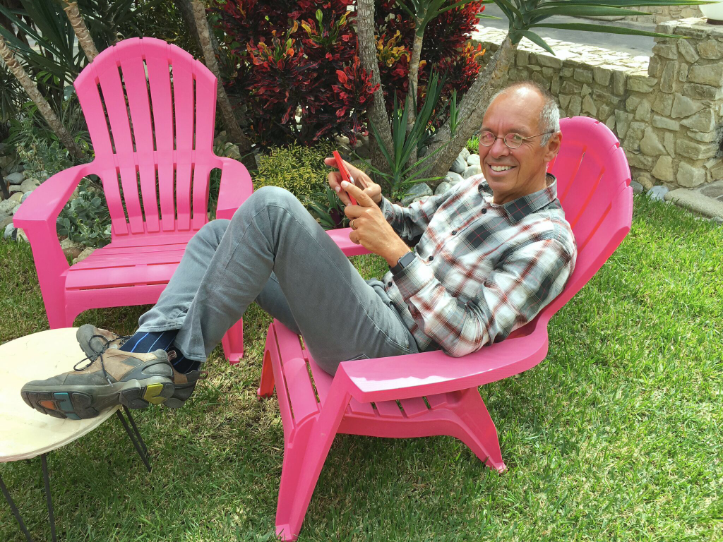 And lounge I did. I mean, who could resist plastic pink Adirondack chairs?