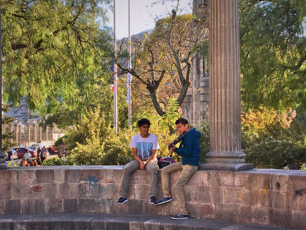 Finally, a scene from the main square in Quetzaltenango. At the center of the plaza is a rotunda of Ionic colums dedicated to a local composer, so it seemed appropriate that these guys were practicing their violin here.