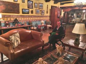 Mark enjoying the artful lobby of Hotel Atitlán