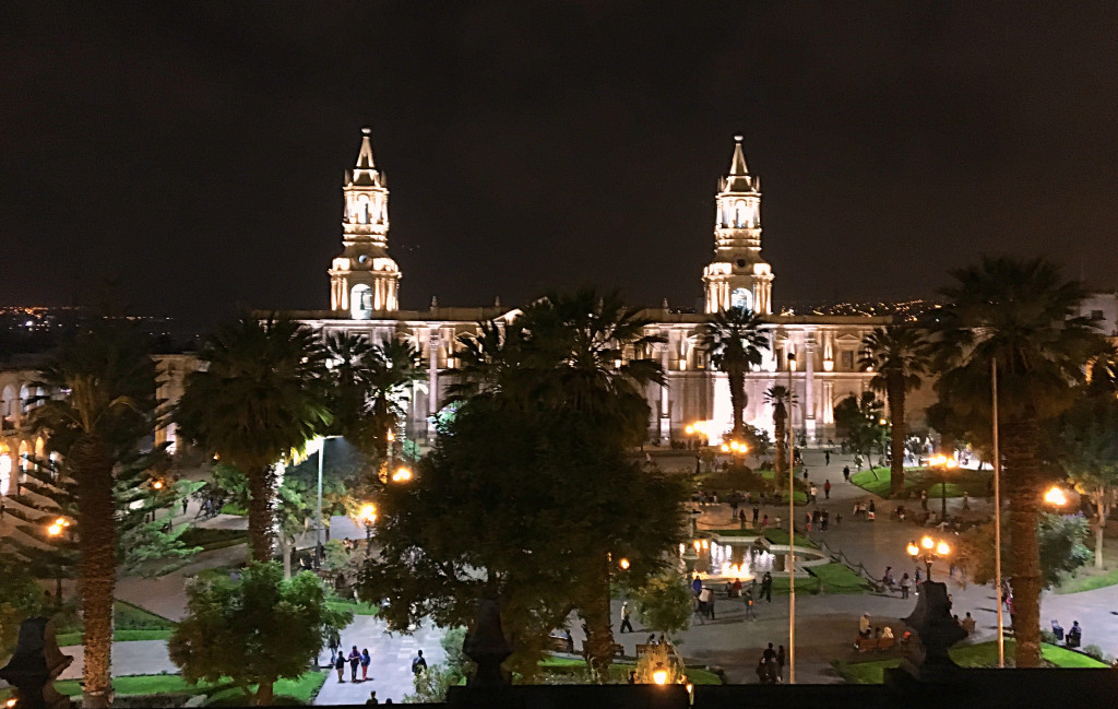 And finally the view from our hotel's roof deck across the plaza to the cathedral.