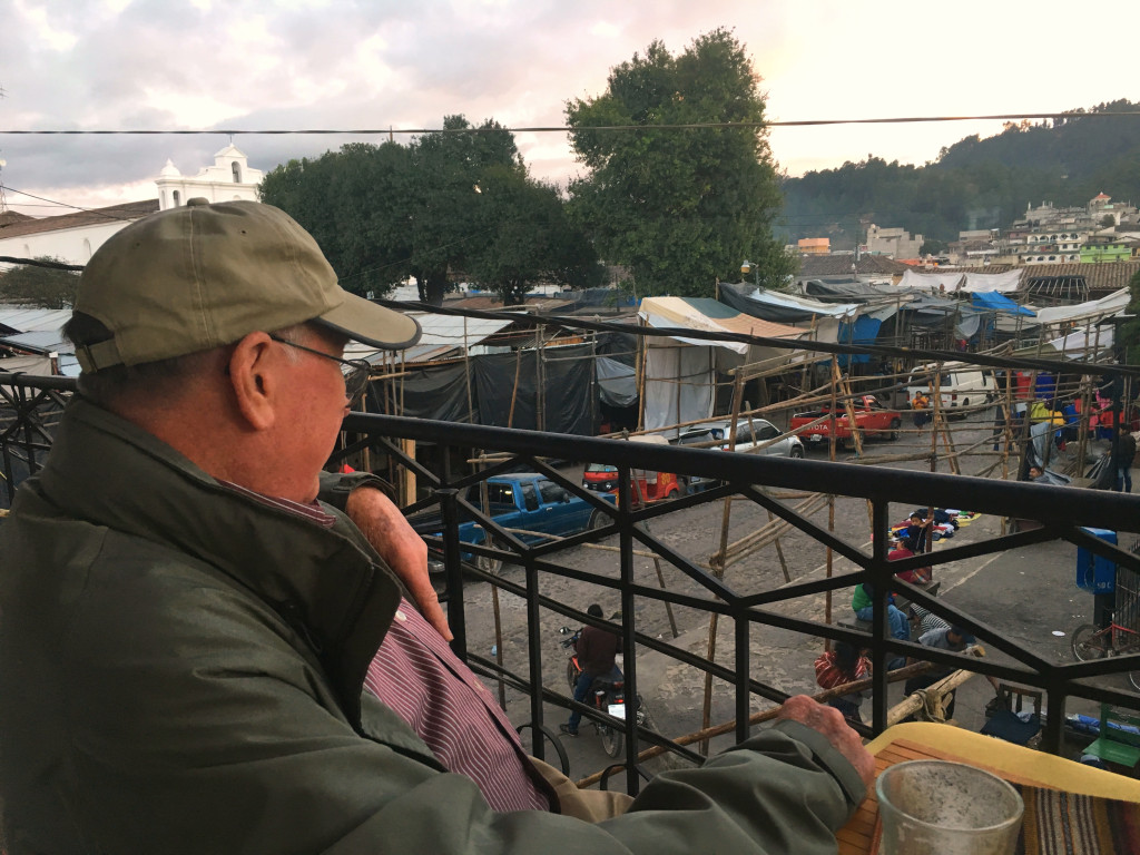 I love this one - Mark spent part of a late afternoon having coffee with his parents on a second story balcony watching the locals set up their stalls for Sunday's market