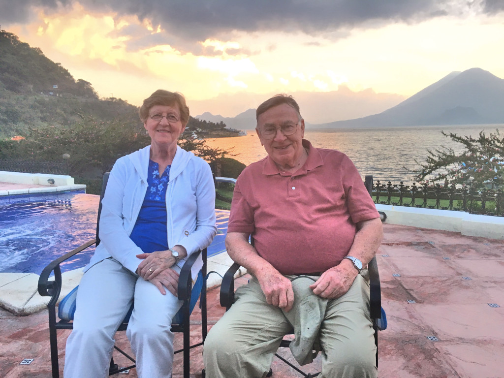 Mark's parents enjoying sunset in the pool area