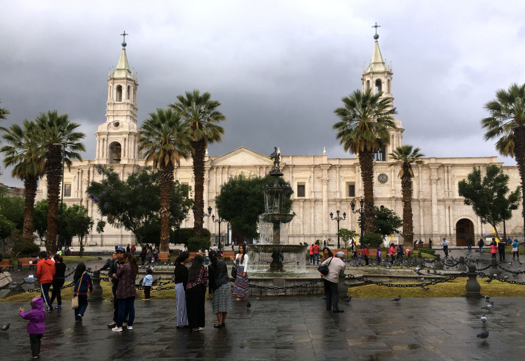 Arequipa's cathedral right on the central plaza