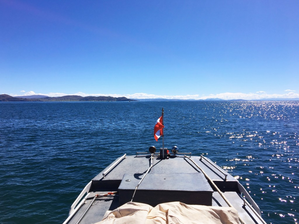 A view of Lake Titicaca from the top of our boat. It's a big, beautiful lake.