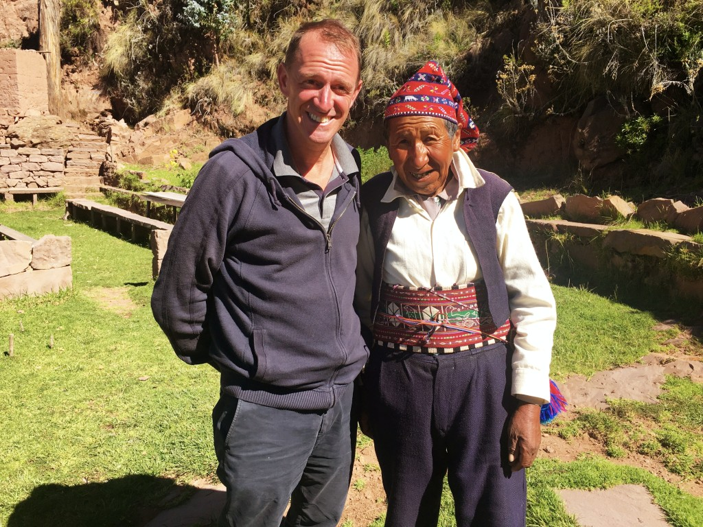 Mark with one of the old guys on Isla Taquile. The men here, our guide pointed out, knit their own hats as well as stuff for their wives.