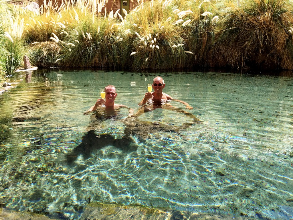 If they're offering pisco sours for lunch, in a naturally fed hot springs, who are we to say no?