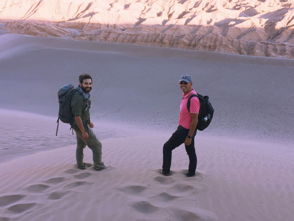 Our guide Danilo and I making our way down the sand dune at Valley of the Moon
