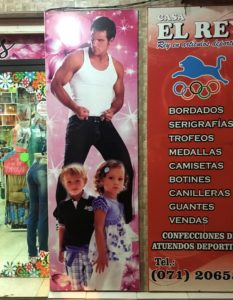 OK, not all of Encarnación was about the missions. We saw this strange ad in town, what looks like a Chippendale stripper-type with cute little kids. Not sure what they were suggesting unless it was making your next birthday party a little livelier...