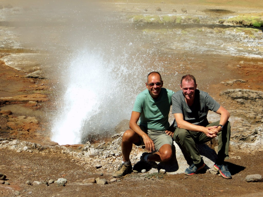 Late in our long hike we came across this lonely geyser that erupts every 15 minutes or so