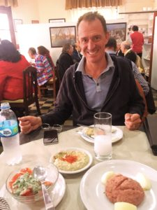 And then there was this Lebanese restaurant. You can see how happy Mark is with baba ganoush and kibbeh nayyah and raki. That's living.