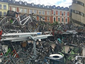 Copenhagen is a city of bikers. For all our travels I've never before seen a two-level bike rack.