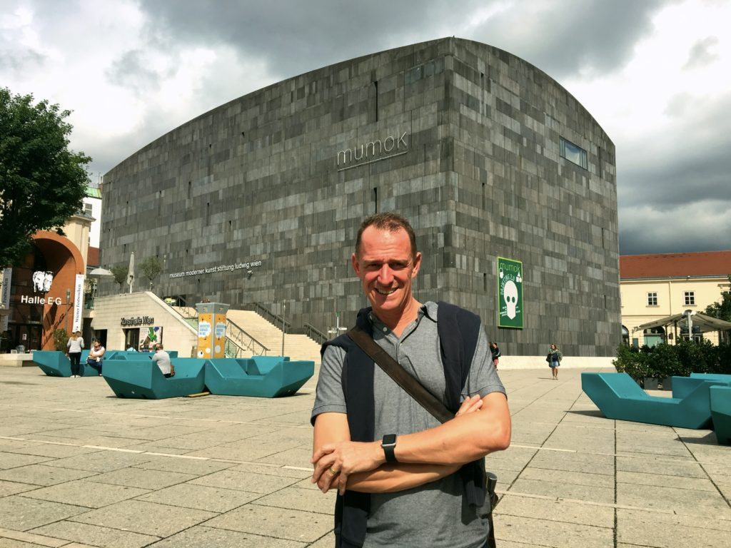 Mark outside the MUMOK, Vienna's modern art museum. Pretty impressive architecture, huh?
