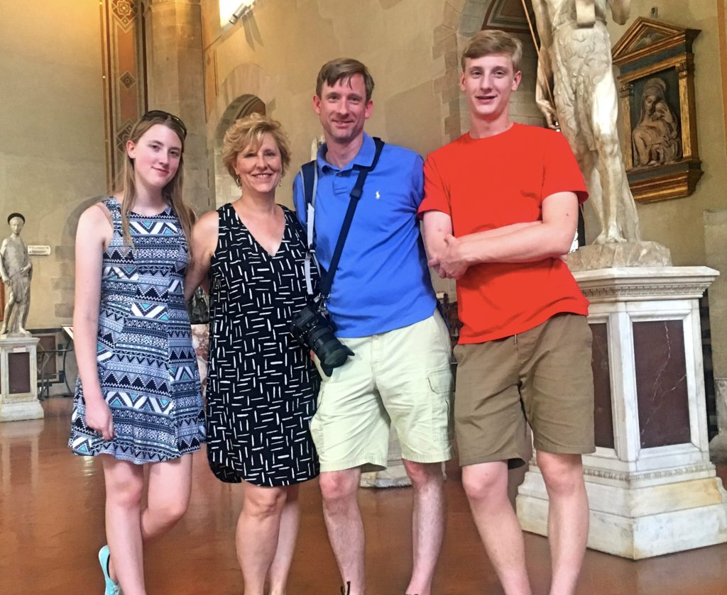 Our travel mates for the next two weeks: Elizabeth, Laura, Dan, & Charlie, posing here in the Bargello