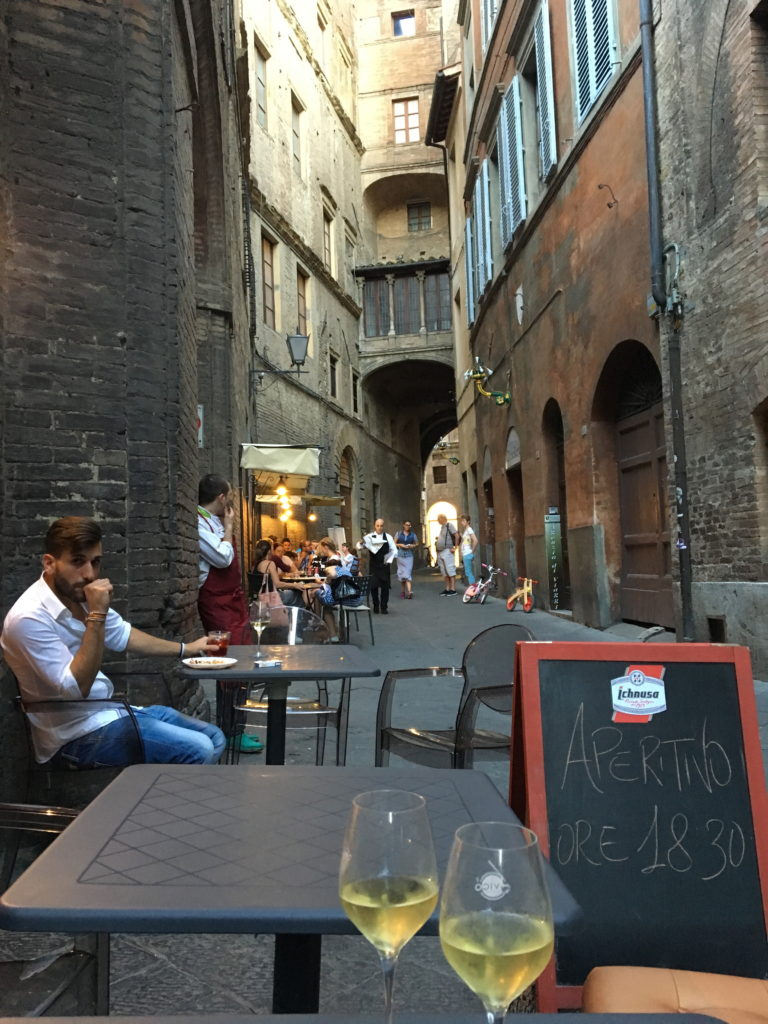 A little pre-dinner stop on one of the winding side streets of Siena