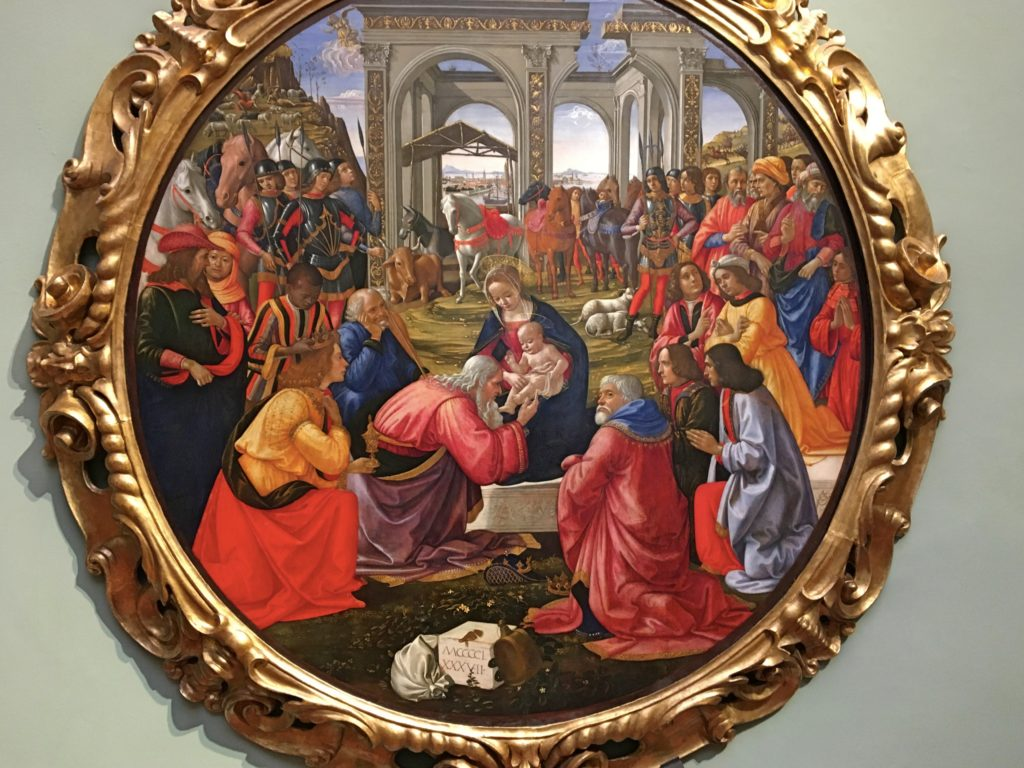 This colorful painting, also in the Grand Museum, was by Domenico Ghirlandaio, Michelangelo's first art teacher