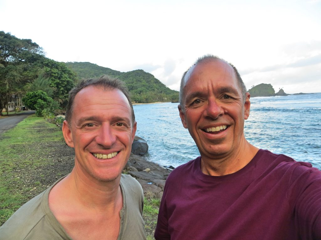 Here we are at the western end of American Samoa. We had assumed it was the most westerly point in the U.S., but that title belongs up in Alaska. However, while technically that northern extremity is 172 degrees west and American Samoa is only 170 degrees west, the degrees are a lot longer here near the equator than up there near the poles. Thus while this isn't the furthest west you can get in the U.S., it is the furthest you can get from the Prime Meridian that runs through Greenwich, England. So there.