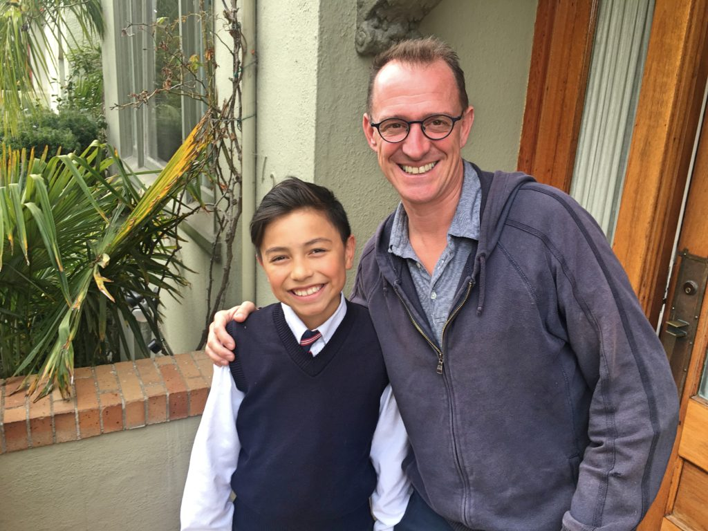 And Mark with Nico, just home from school. Nico is on the student council and wears a tie on Wednesdays when they meet.
