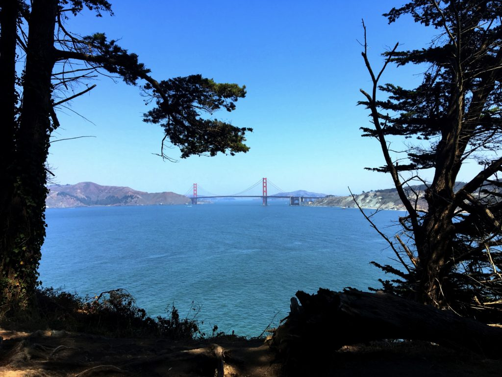 The Golden Gate Bridge from Land's End Park after a long walk across San Francisco