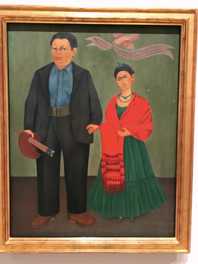 Frida Kahlo and Diego Rivera came to San Francisco at one point, where she painted this self-portrait. Rivera was a big guy, but notice the difference in the size of their feet!