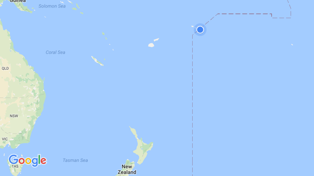 If you're wondering just where we were, that blue dot is American Samoa. The dashed line is the International Date Line, so you get a sense of just how close we were to tomorrow.