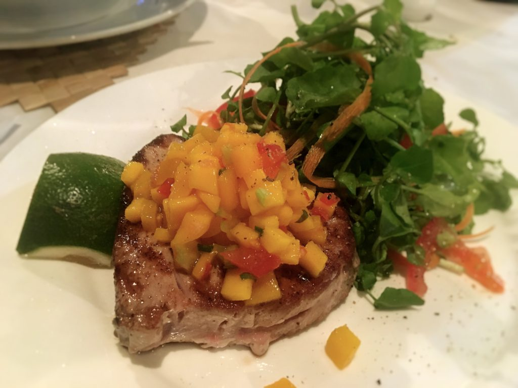 This was a fresh tuna steak with mango at our favorite Italian place