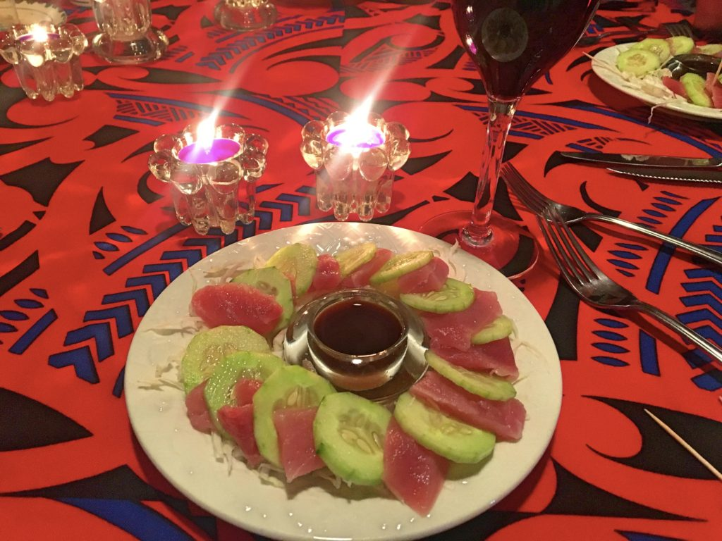 And while we're on the subject of food, our hosts at the Treesort had an amazing menu for such a small place. This was a nice sashimi plate with beautiful candles and great wine. Did I mention that you should stay at the Treesort some day?