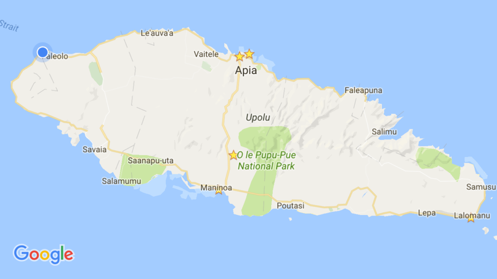 Here's the island of 'Upolu and the various places we stayed. As you can see, north, south, east, west, and center … we covered the island pretty well!