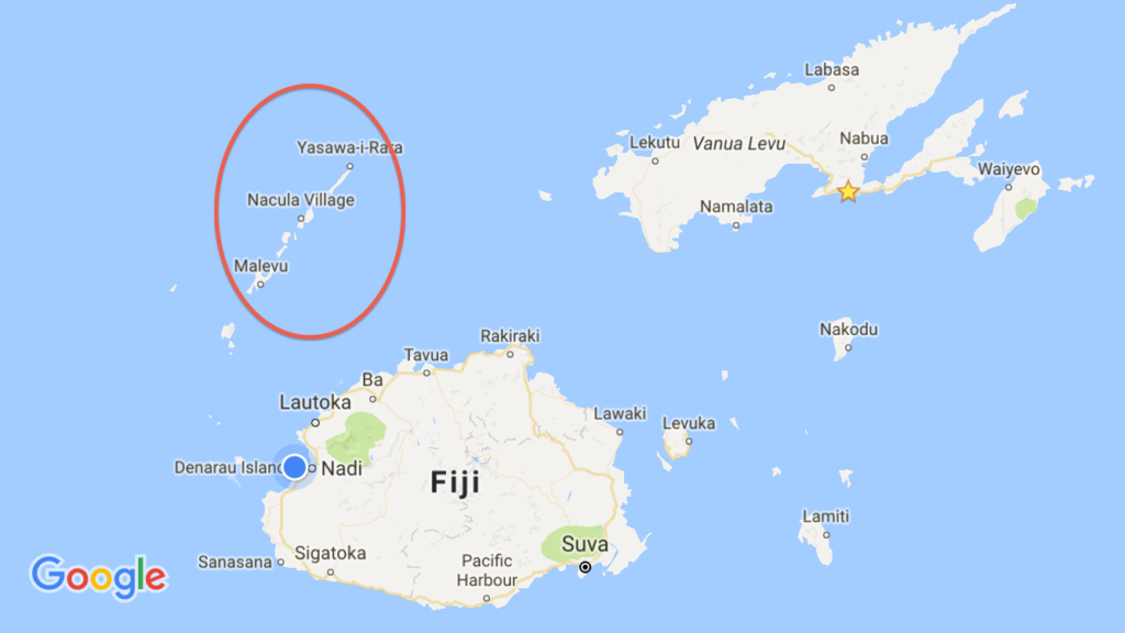 The blue dot is our location in Nadi, where we've got three one-night stops altogether. Northeast is our stay in Savusavu while I've circled the Yasawa Islands where we're headed next.