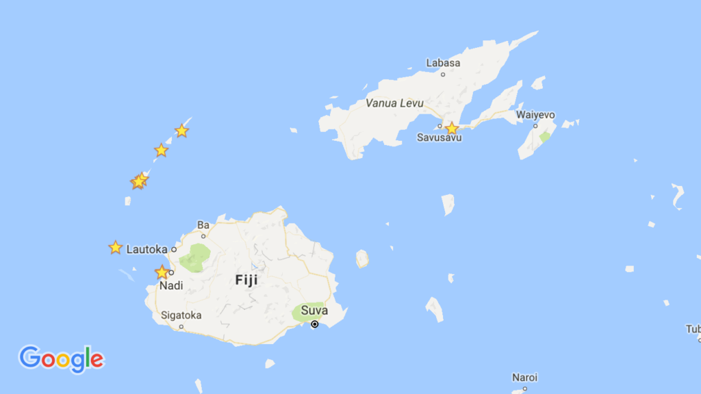 "Here's a map of Fiji. Our first stop was a week in Savusavu, marked in the upper right. Then an overnight in Nadi on the west coast of the main island (what people often referred to as ""the mainland"") and then our various anchoring spots along the Yasawa Islands."