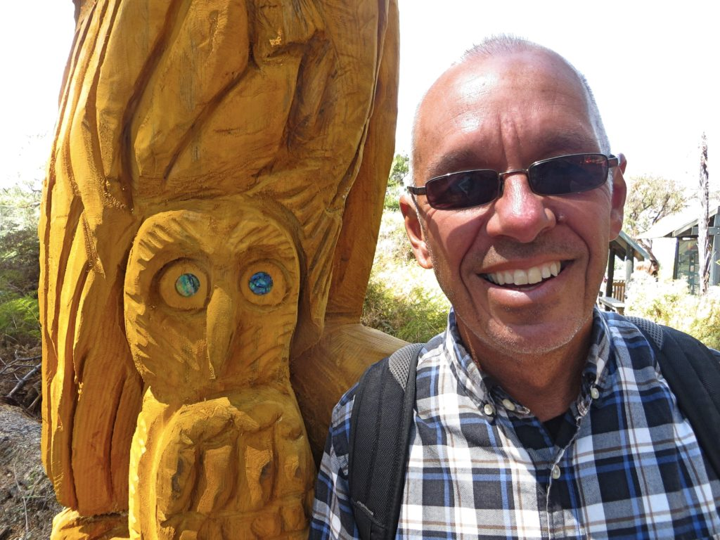 Here I am with some carved owl