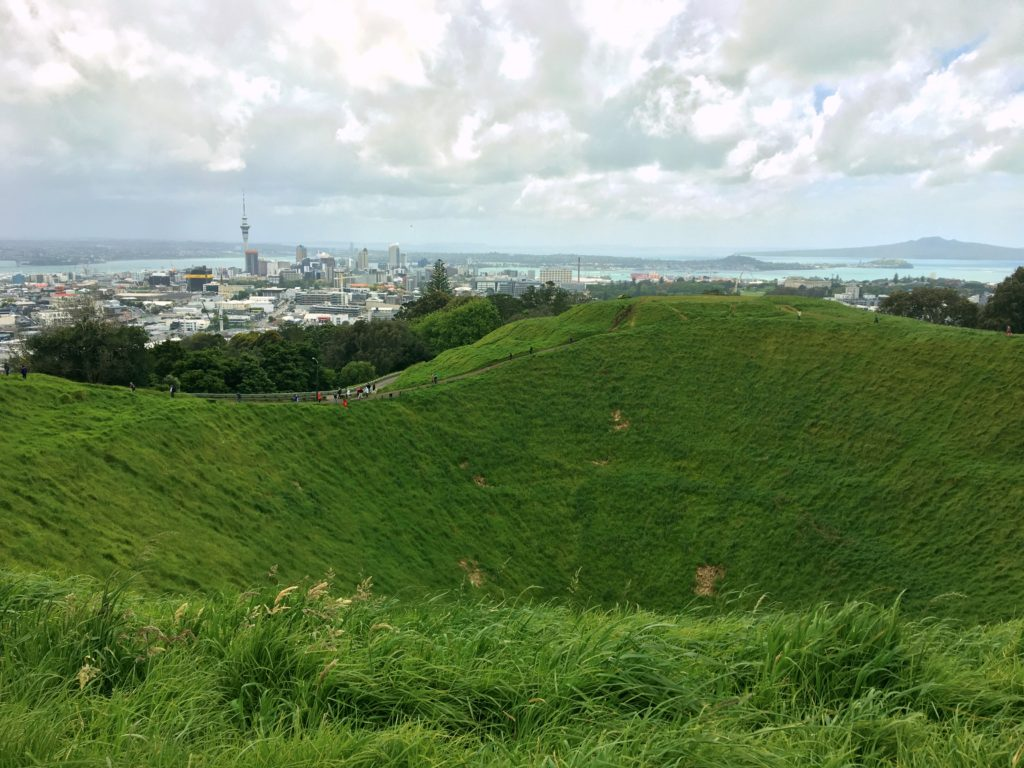 The view from Mt. Eden on a hike across Auckland, including a pretty obvious crater