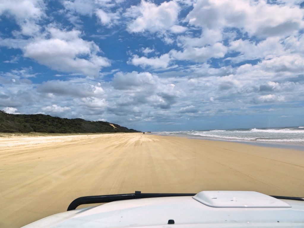 The beach highway on Fraser Island