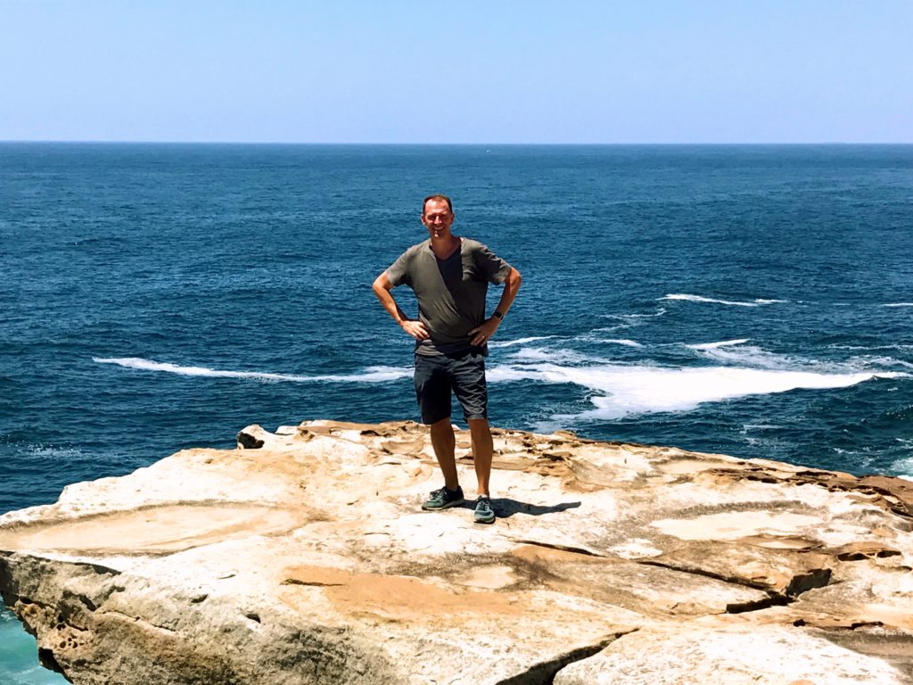 Mark along the Coogee-to-Bondi walk on Christmas Day. No snow in sight!