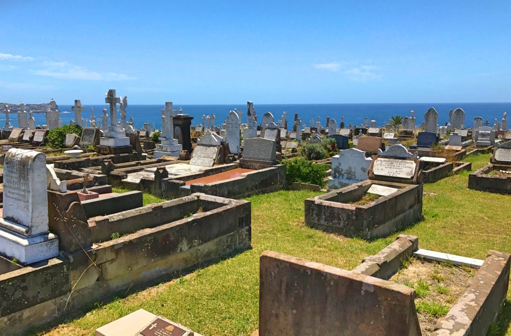 Part of the Bondi-Coogoo walk was washed out in a storm just a few months ago, so we were rerouted through this huge cemetery. Very strange watching hipsters carrying their surfboards through a cemetery.