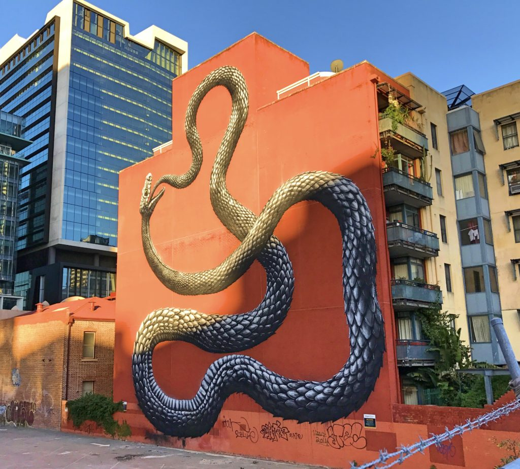 We've seen more interesting street art in Australia than just about anywhere. This snake was just one example.