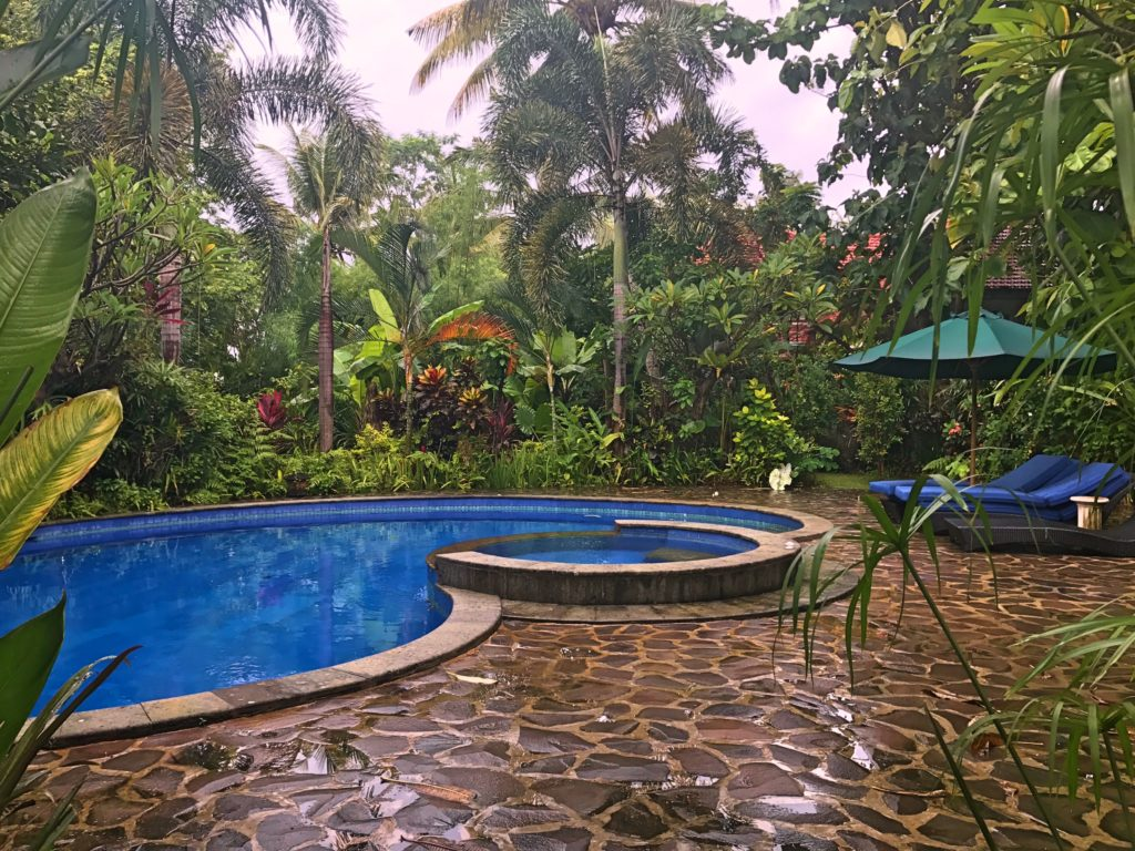 Our very private pool after a rainstorm