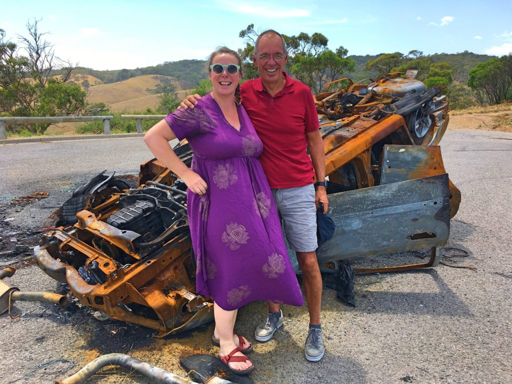 Pip took us for a drive, and as you can see that didn't work out so well. (OK, that wasn't really our car, just a Mad Max-like burned out hulk we found when we stopped at a viewpoint overlooking the vast areas south of Adelaide.)