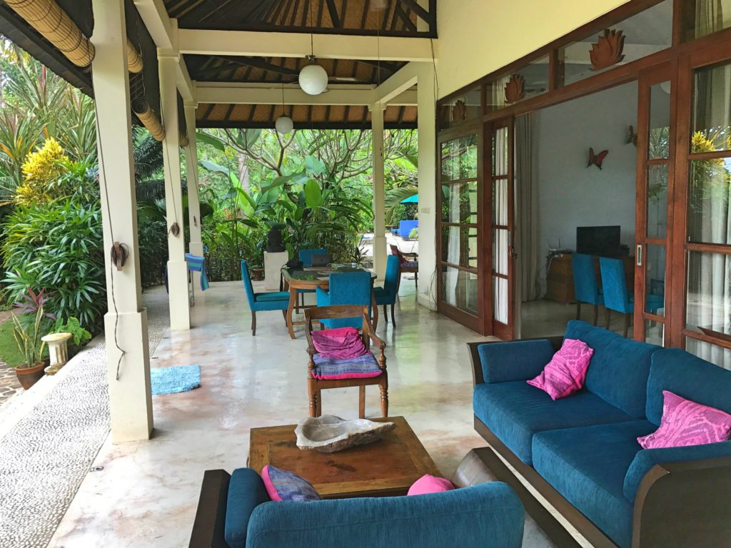 As much as we loved Villa Padma, I don't think I've put enough pictures of just why. This was our living space when we weren't at the pool, a great big veranda with comfy couches for happy hour and a table where we had our meals, all opening onto the beautiful grounds. Sweet!