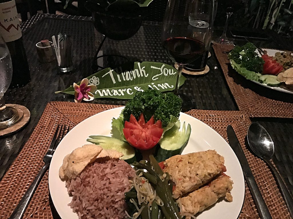 And a very Balinese fish dish at Secret Garden. We loved the personalized banana leaf welcome that usually greeted us there.