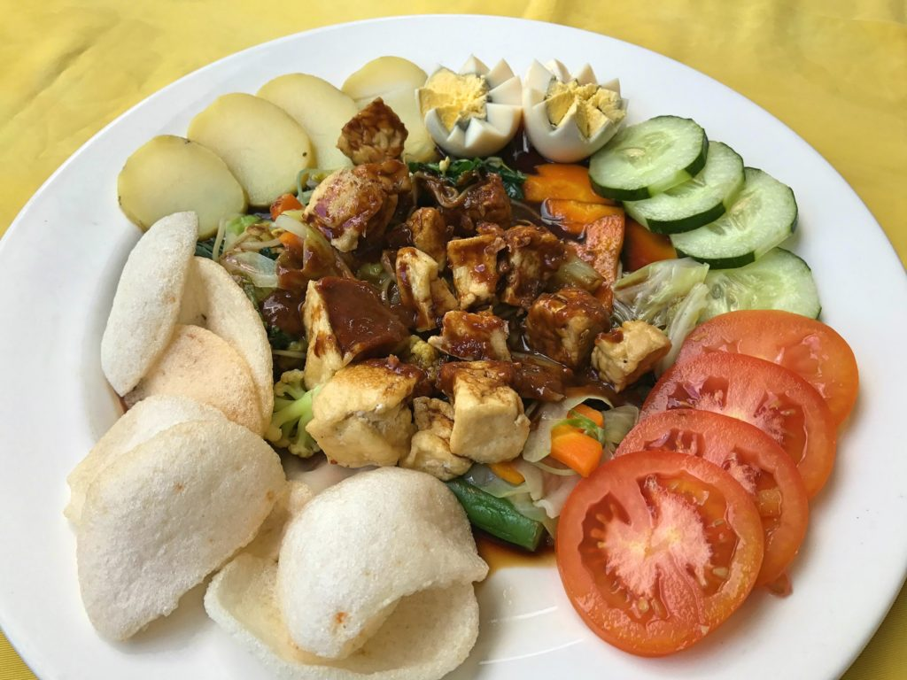 The gado gado - a classic Indonesian dish - at Loco Café, the one decent lunch spot we found